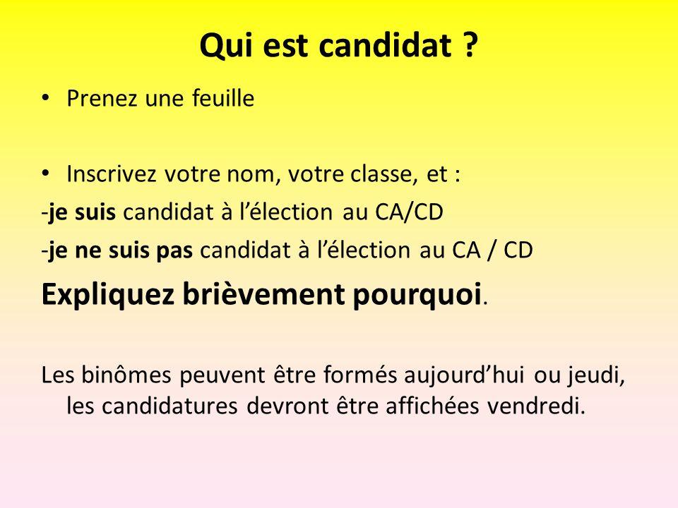 Qui est candidat ? Prenez une feuille Inscrivez votre nom, votre classe, et : -je suis candidat à lélection au CA/CD -je ne suis pas candidat à lélect