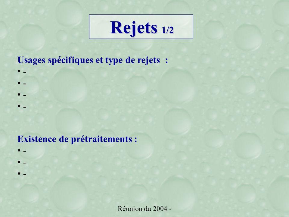Réunion du 2004 - Usages spécifiques et type de rejets : - Existence de prétraitements : - Rejets 1/2