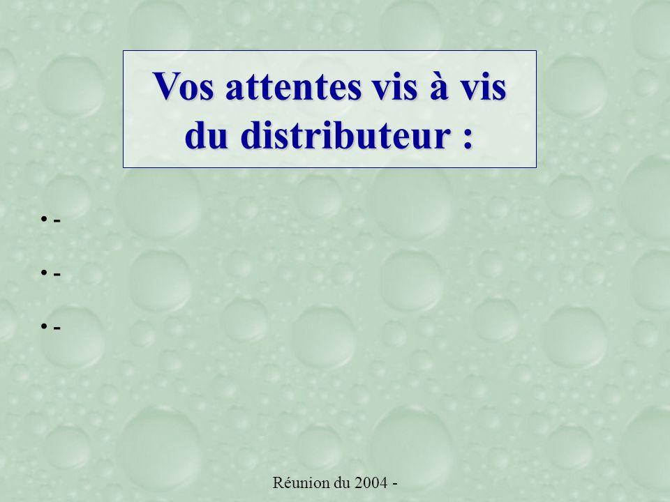 Réunion du 2004 - - Vos attentes vis à vis du distributeur :