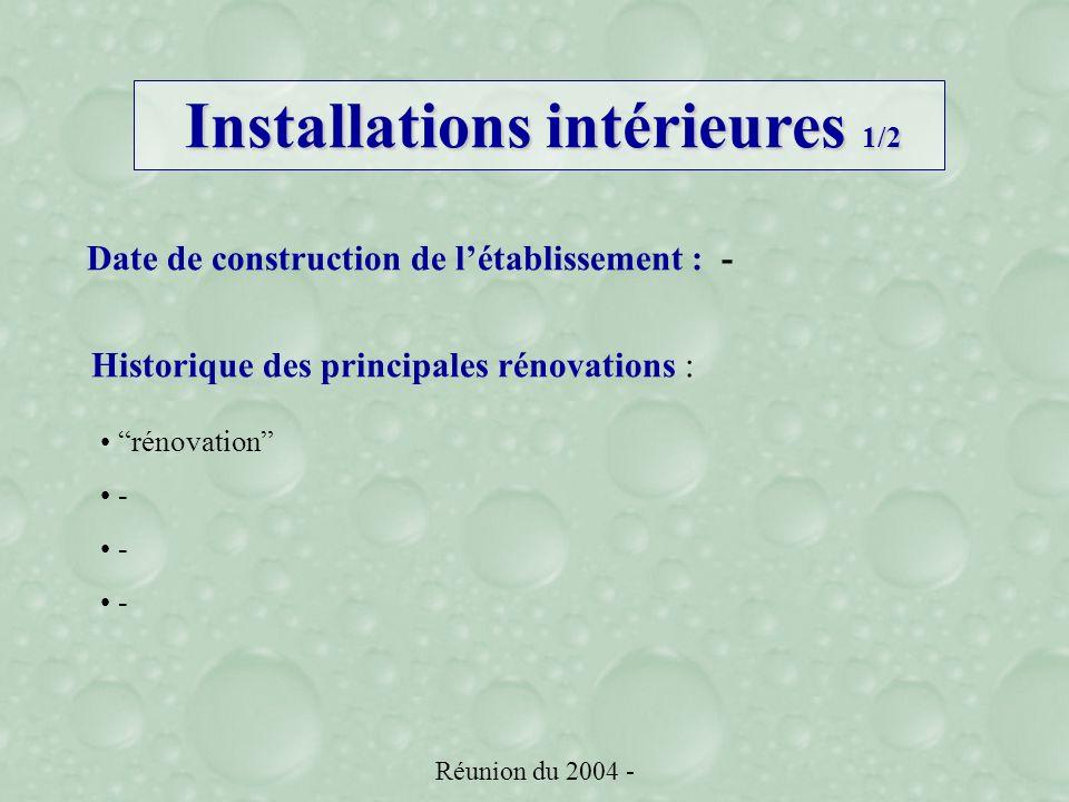 Réunion du 2004 - Date de construction de létablissement :- Historique des principales rénovations : rénovation - Installations intérieures 1/2