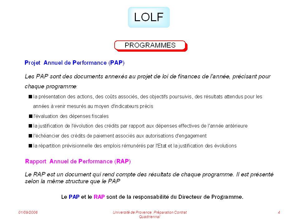 01/09/2006Université de Provence. Préparation Contrat Quadriennal 5