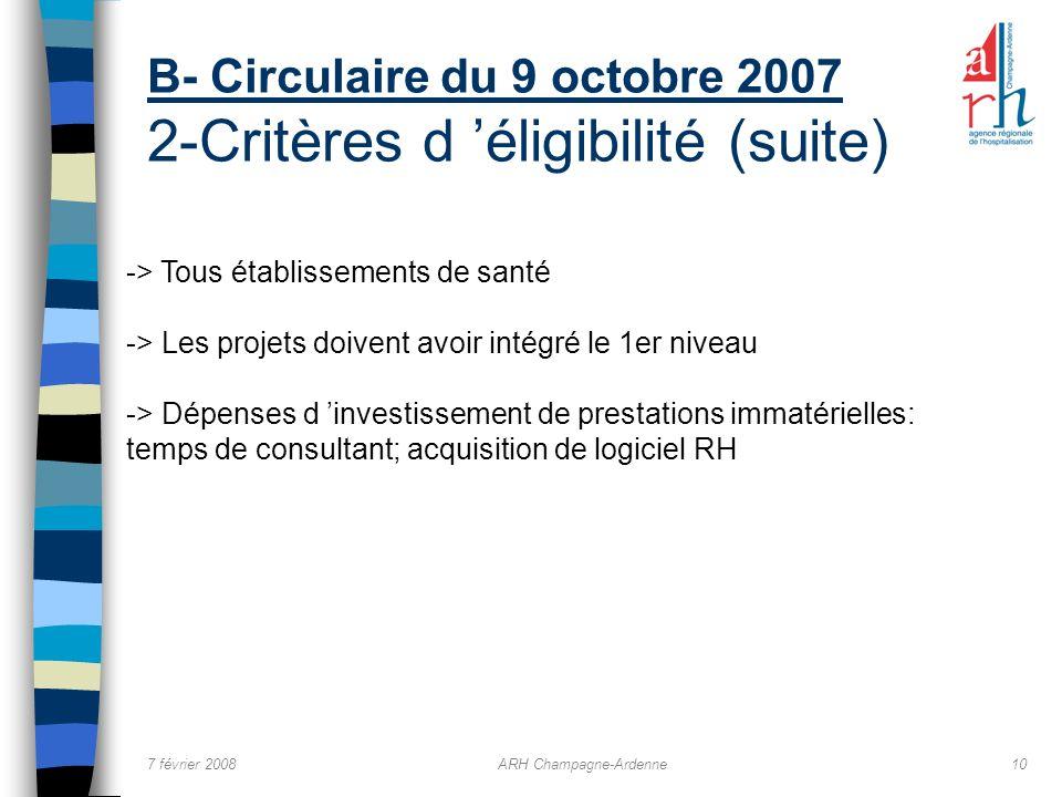 7 février 2008ARH Champagne-Ardenne10 B- Circulaire du 9 octobre 2007 2-Critères d éligibilité (suite) -> Tous établissements de santé -> Les projets
