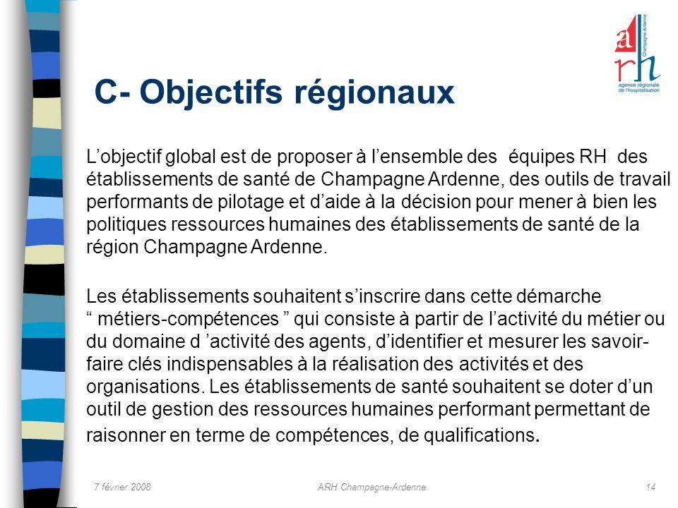 7 février 2008ARH Champagne-Ardenne14 C- Objectifs régionaux Lobjectif global est de proposer à lensemble des équipes RH des établissements de santé d