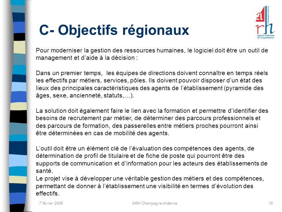 7 février 2008ARH Champagne-Ardenne15 C- Objectifs régionaux Pour moderniser la gestion des ressources humaines, le logiciel doit être un outil de man