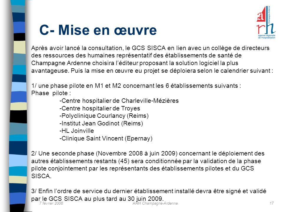 7 février 2008ARH Champagne-Ardenne17 C- Mise en œuvre Après avoir lancé la consultation, le GCS SISCA en lien avec un collège de directeurs des resso