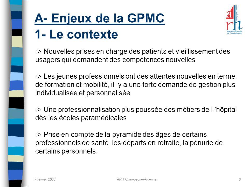 7 février 2008ARH Champagne-Ardenne3 A- Enjeux de la GPMC 1- Le contexte -> Nouvelles prises en charge des patients et vieillissement des usagers qui