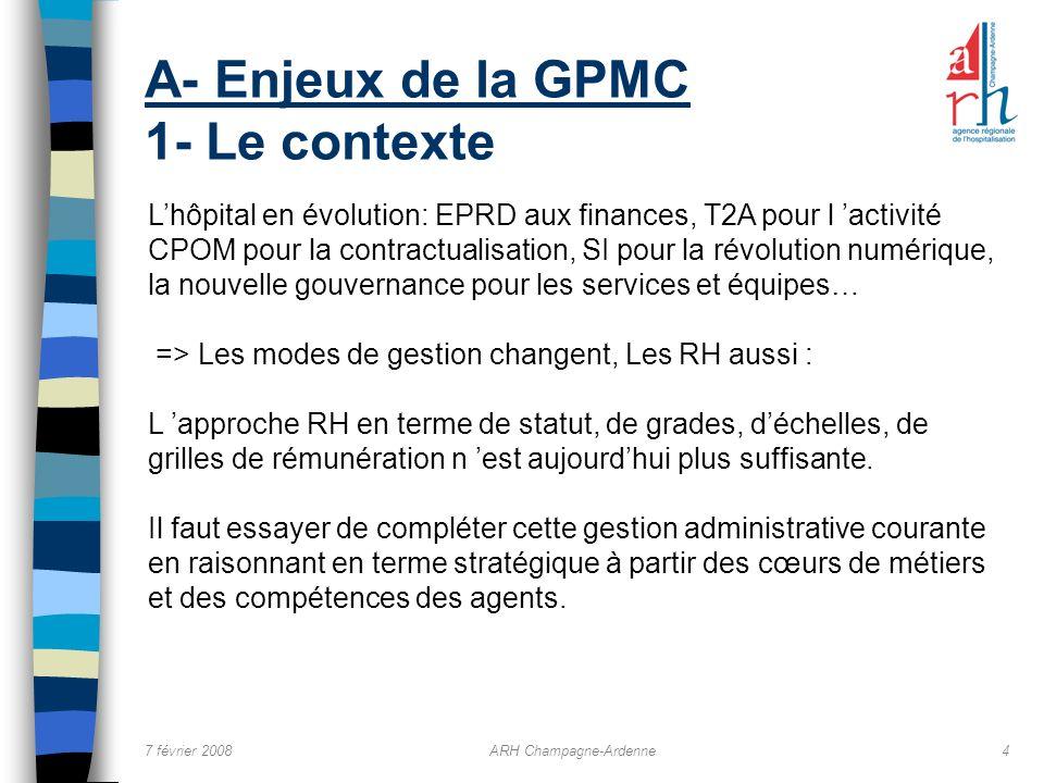 7 février 2008ARH Champagne-Ardenne4 A- Enjeux de la GPMC 1- Le contexte Lhôpital en évolution: EPRD aux finances, T2A pour l activité CPOM pour la co
