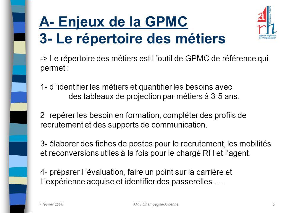 7 février 2008ARH Champagne-Ardenne6 A- Enjeux de la GPMC 3- Le répertoire des métiers -> Le répertoire des métiers est l outil de GPMC de référence q
