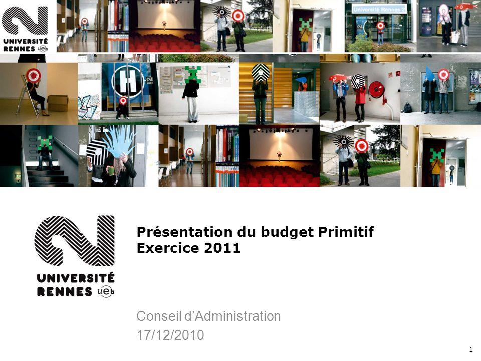 1 Présentation du budget Primitif Exercice 2011 Conseil dAdministration 17/12/2010