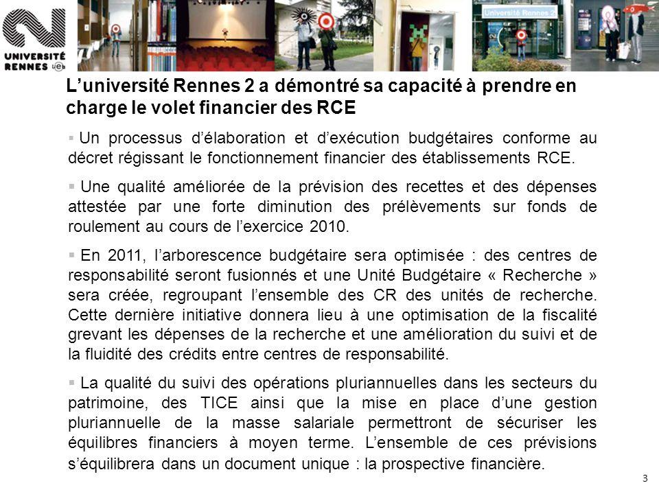 3 Luniversité Rennes 2 a démontré sa capacité à prendre en charge le volet financier des RCE Un processus délaboration et dexécution budgétaires confo