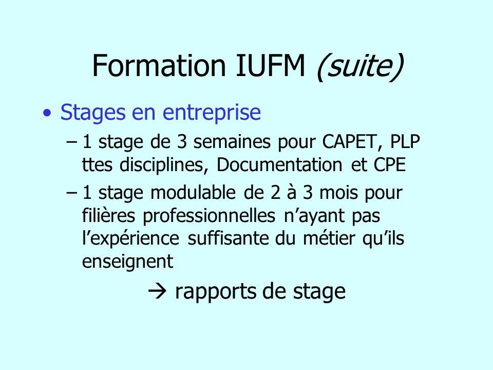 Formation IUFM (suite) Stages en entreprise –1 stage de 3 semaines pour CAPET, PLP ttes disciplines, Documentation et CPE –1 stage modulable de 2 à 3