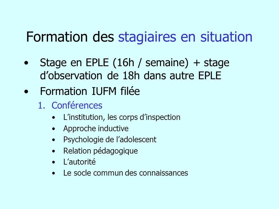 Formation des stagiaires en situation Stage en EPLE (16h / semaine) + stage dobservation de 18h dans autre EPLE Formation IUFM filée 1.Conférences Lin