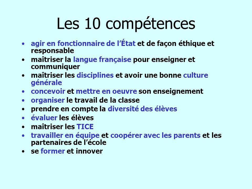 Les 10 compétences agir en fonctionnaire de lÉtat et de façon éthique et responsable maîtriser la langue française pour enseigner et communiquer maîtr