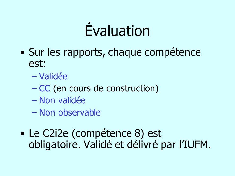 Évaluation Sur les rapports, chaque compétence est: –Validée –CC (en cours de construction) –Non validée –Non observable Le C2i2e (compétence 8) est o