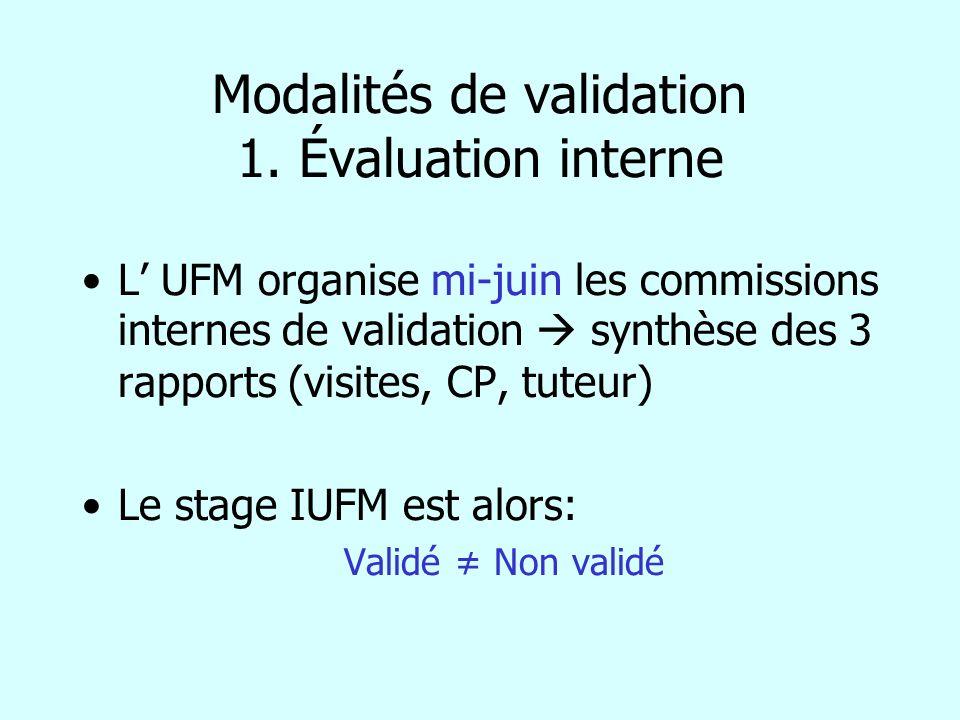 Modalités de validation 1. Évaluation interne L UFM organise mi-juin les commissions internes de validation synthèse des 3 rapports (visites, CP, tute