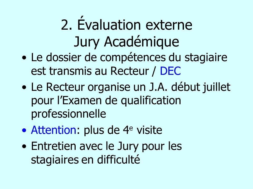 2. Évaluation externe Jury Académique Le dossier de compétences du stagiaire est transmis au Recteur / DEC Le Recteur organise un J.A. début juillet p