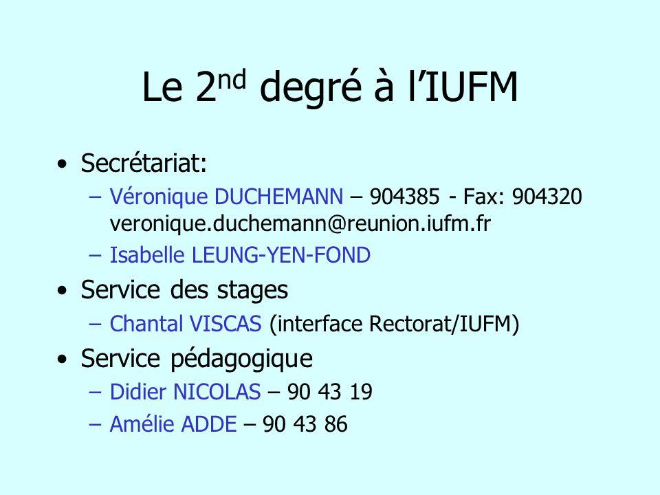 Le 2 nd degré à lIUFM Secrétariat: –Véronique DUCHEMANN – 904385 - Fax: 904320 veronique.duchemann@reunion.iufm.fr –Isabelle LEUNG-YEN-FOND Service de