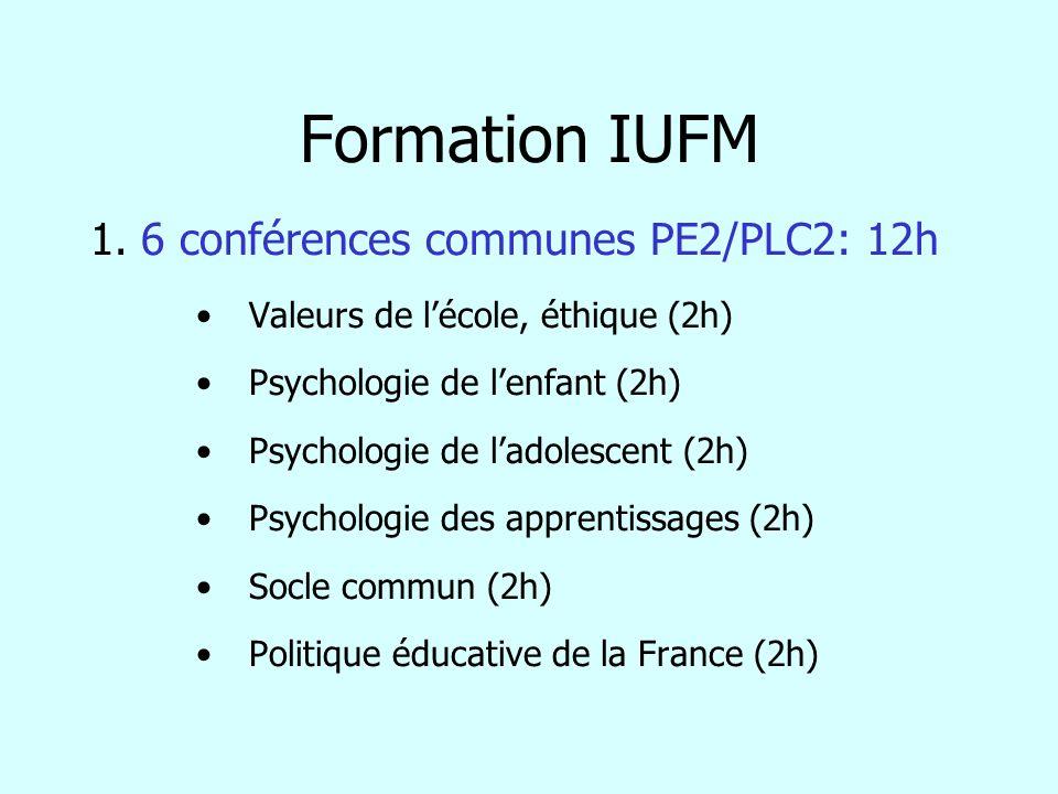 Formation IUFM 1. 6 conférences communes PE2/PLC2: 12h Valeurs de lécole, éthique (2h) Psychologie de lenfant (2h) Psychologie de ladolescent (2h) Psy