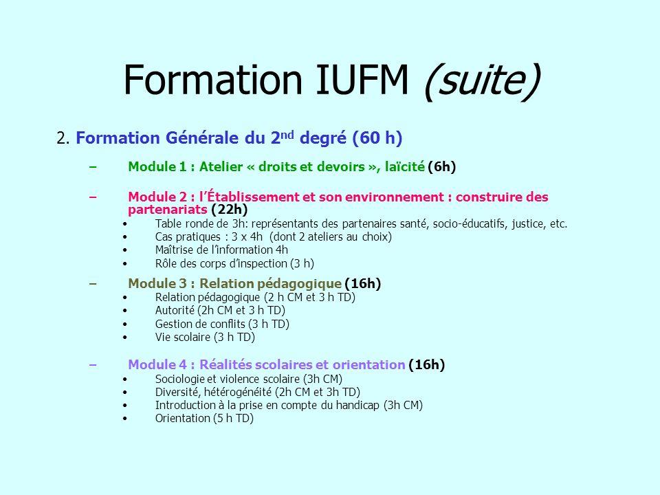 Formation IUFM (suite) 2. Formation Générale du 2 nd degré (60 h) –Module 1 : Atelier « droits et devoirs », laïcité (6h) –Module 2 : lÉtablissement e