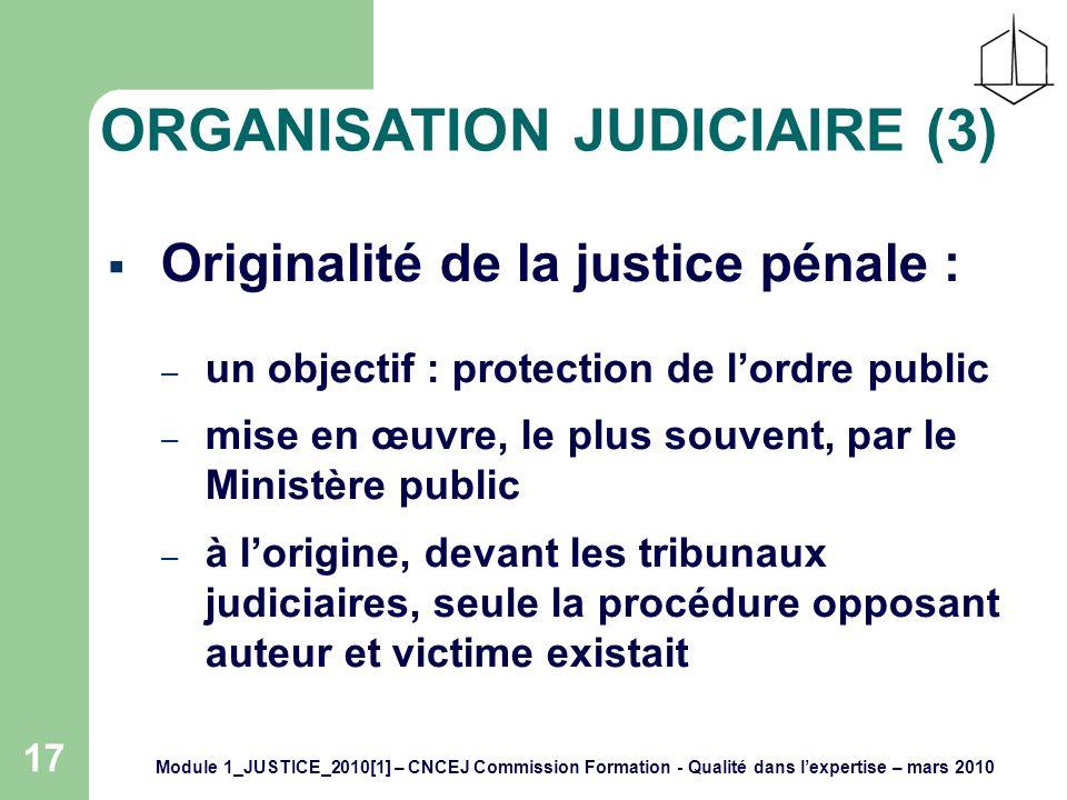 17 ORGANISATION JUDICIAIRE (3) Originalité de la justice pénale : – un objectif : protection de lordre public – mise en œuvre, le plus souvent, par le Ministère public – à lorigine, devant les tribunaux judiciaires, seule la procédure opposant auteur et victime existait