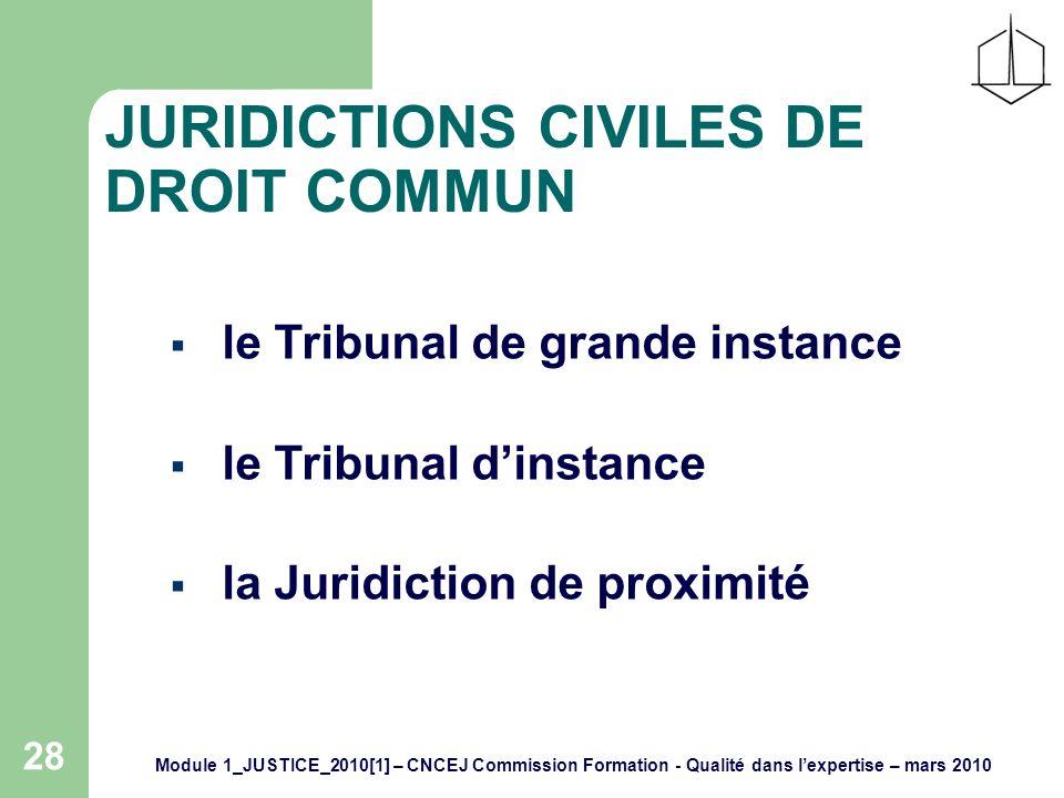 Module 1_JUSTICE_2010[1] – CNCEJ Commission Formation - Qualité dans lexpertise – mars 2010 28 JURIDICTIONS CIVILES DE DROIT COMMUN le Tribunal de grande instance le Tribunal dinstance la Juridiction de proximité