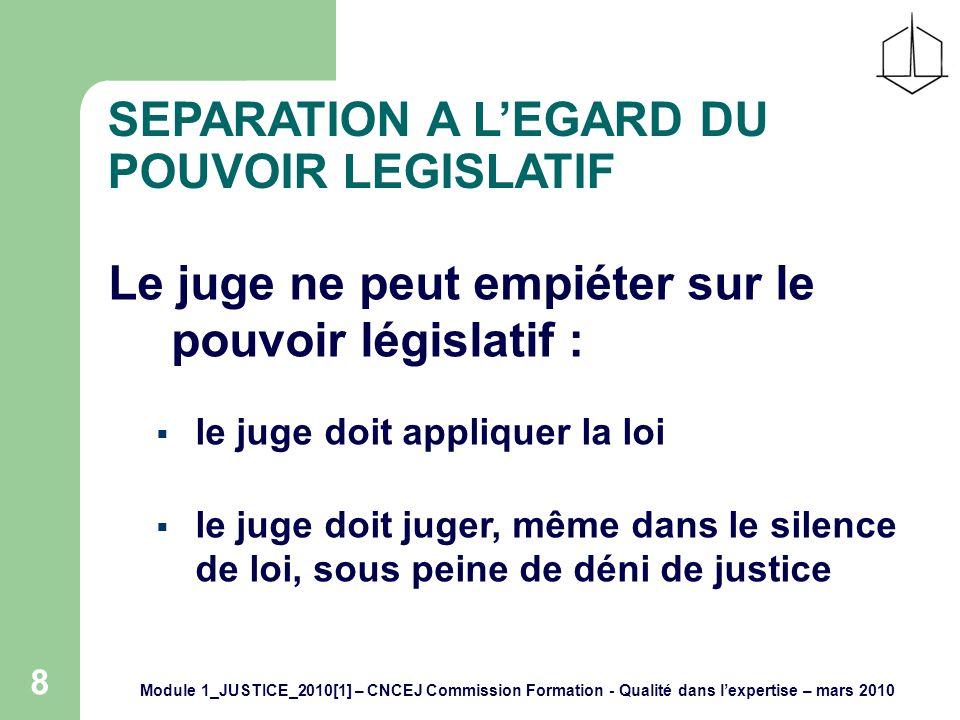 Module 1_JUSTICE_2010[1] – CNCEJ Commission Formation - Qualité dans lexpertise – mars 2010 8 SEPARATION A LEGARD DU POUVOIR LEGISLATIF Le juge ne peut empiéter sur le pouvoir législatif : le juge doit appliquer la loi le juge doit juger, même dans le silence de loi, sous peine de déni de justice