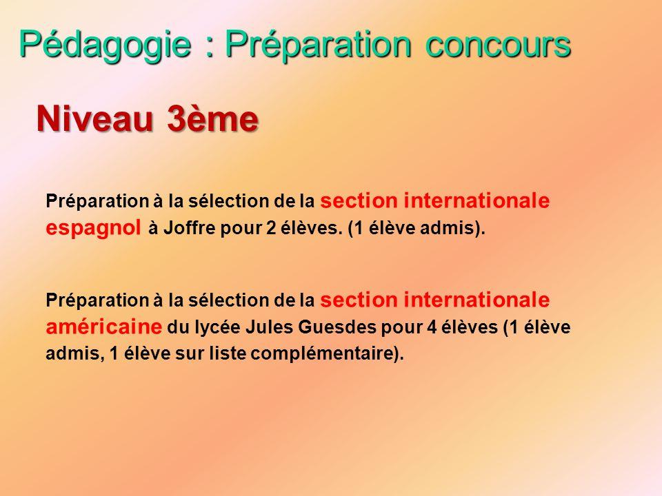Pédagogie : Préparation concours Préparation à la sélection de la section internationale espagnol à Joffre pour 2 élèves. (1 élève admis). Préparation