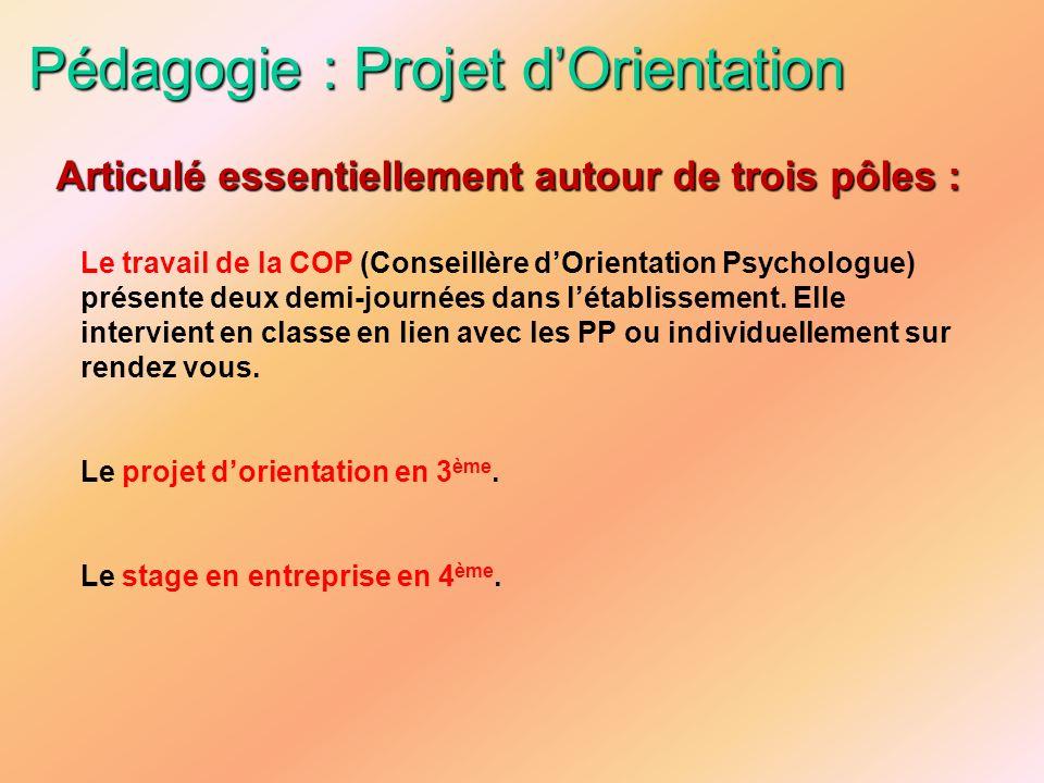 Pédagogie : Projet dOrientation Le travail de la COP (Conseillère dOrientation Psychologue) présente deux demi-journées dans létablissement. Elle inte