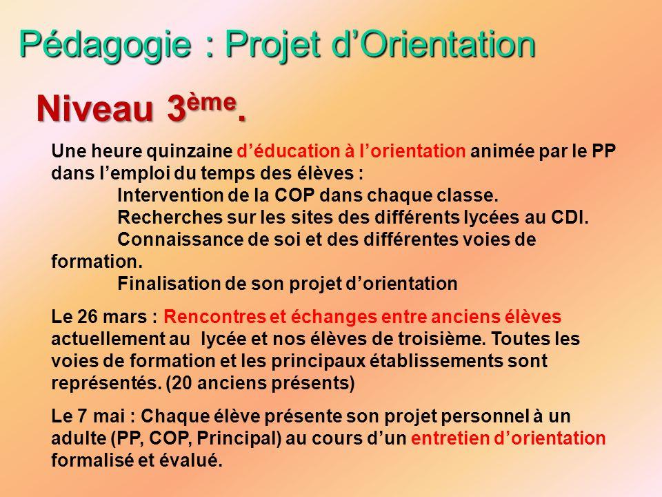 Pédagogie : Projet dOrientation Une heure quinzaine déducation à lorientation animée par le PP dans lemploi du temps des élèves : Intervention de la C