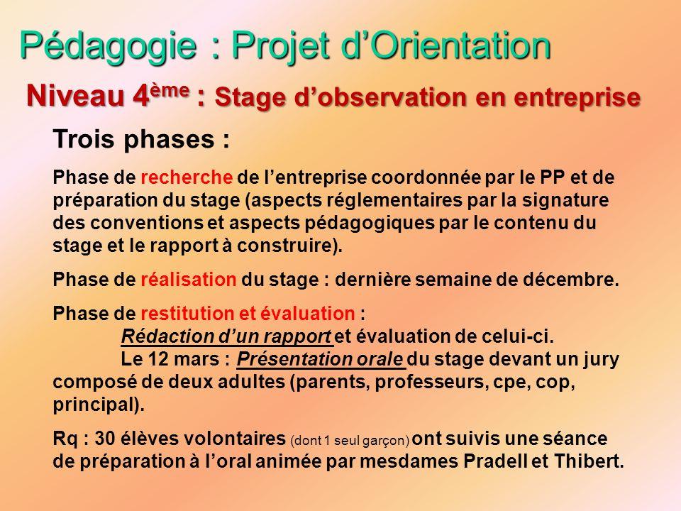 Pédagogie : Projet dOrientation Trois phases : Phase de recherche de lentreprise coordonnée par le PP et de préparation du stage (aspects réglementair