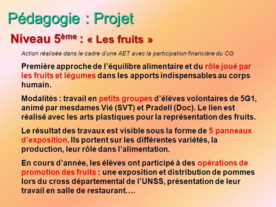 Pédagogie : Projet Action réalisée dans le cadre dune AET avec la participation financière du CG. Première approche de léquilibre alimentaire et du rô