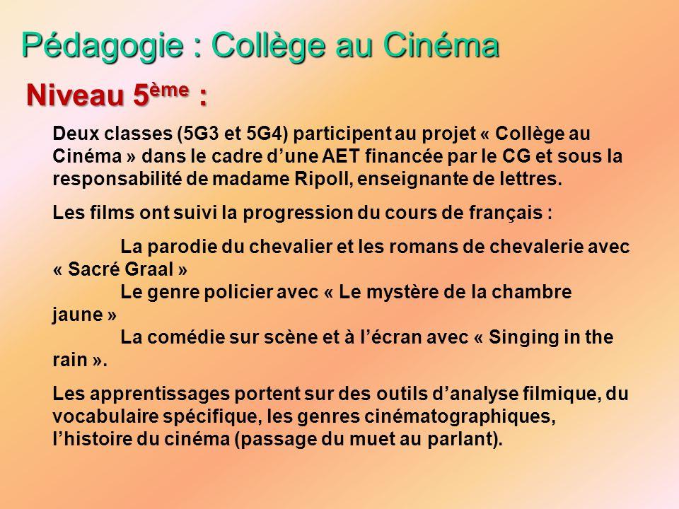 Pédagogie : Collège au Cinéma Deux classes (5G3 et 5G4) participent au projet « Collège au Cinéma » dans le cadre dune AET financée par le CG et sous