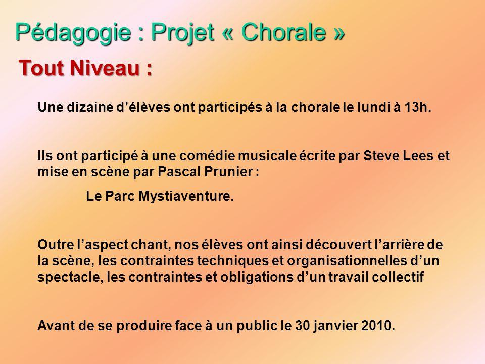 Pédagogie : Projet « Chorale » Une dizaine délèves ont participés à la chorale le lundi à 13h. Ils ont participé à une comédie musicale écrite par Ste
