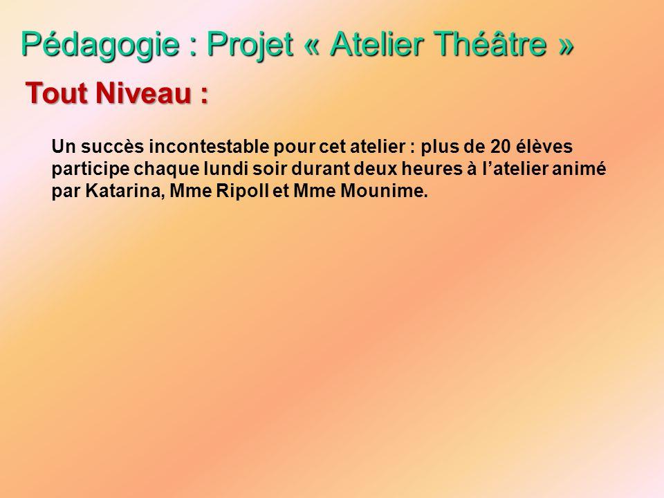 Pédagogie : Projet « Atelier Théâtre » Un succès incontestable pour cet atelier : plus de 20 élèves participe chaque lundi soir durant deux heures à l