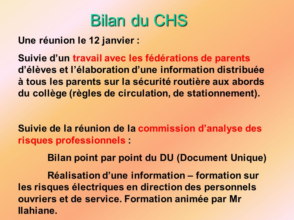 Bilan du CESC Préventions des conduites addictives : Association LR Holisme : 4ème – 2h/cl.