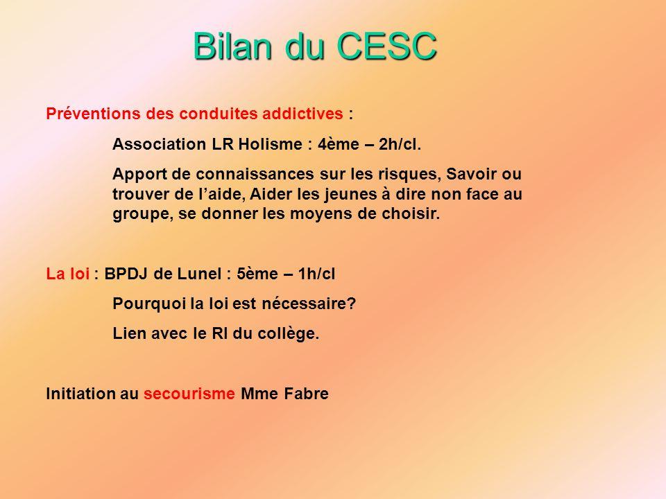 Bilan du CESC Préventions des conduites addictives : Association LR Holisme : 4ème – 2h/cl. Apport de connaissances sur les risques, Savoir ou trouver
