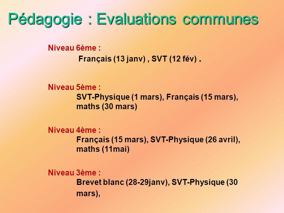 Pédagogie : Evaluations communes Niveau 6ème : Français (13 janv), SVT (12 fév). Niveau 5ème : SVT-Physique (1 mars), Français (15 mars), maths (30 ma