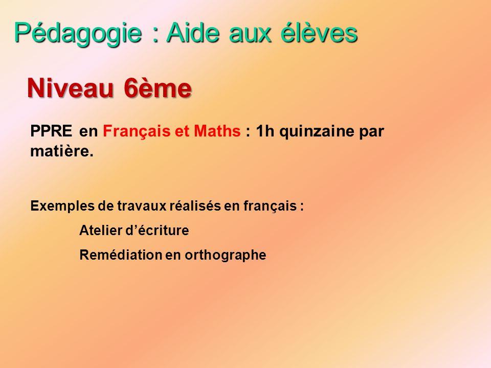 Pédagogie : Aide aux élèves PPRE en Français et Maths : 1h quinzaine par matière. Exemples de travaux réalisés en français : Atelier décriture Remédia