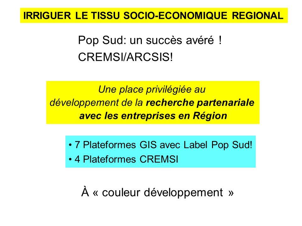 IRRIGUER LE TISSU SOCIO-ECONOMIQUE REGIONAL Pop Sud: un succès avéré ! CREMSI/ARCSIS! Une place privilégiée au développement de la recherche partenari