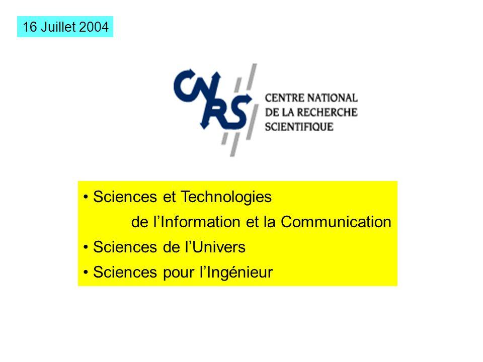 Sciences et Technologies de lInformation et la Communication Sciences de lUnivers Sciences pour lIngénieur 16 Juillet 2004