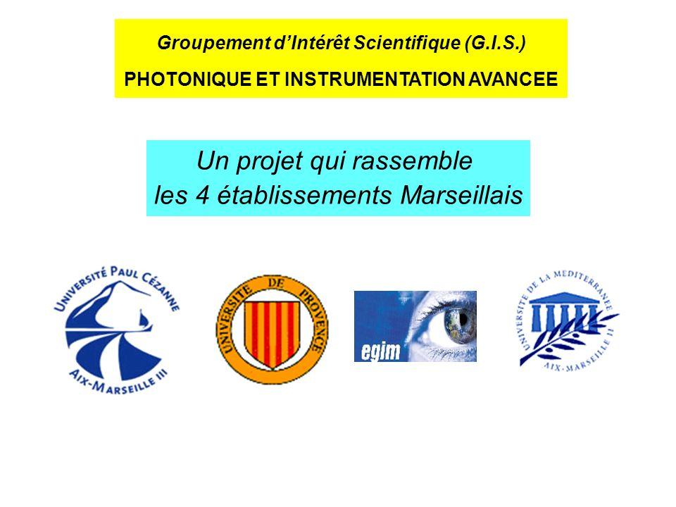 Groupement dIntérêt Scientifique (G.I.S.) PHOTONIQUE ET INSTRUMENTATION AVANCEE Un projet qui rassemble les 4 établissements Marseillais