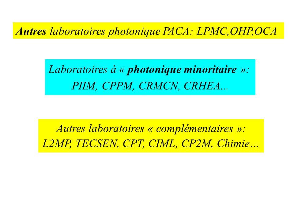 Laboratoires à « photonique minoritaire »: PIIM, CPPM, CRMCN, CRHEA... Autres laboratoires « complémentaires »: L2MP, TECSEN, CPT, CIML, CP2M, Chimie…