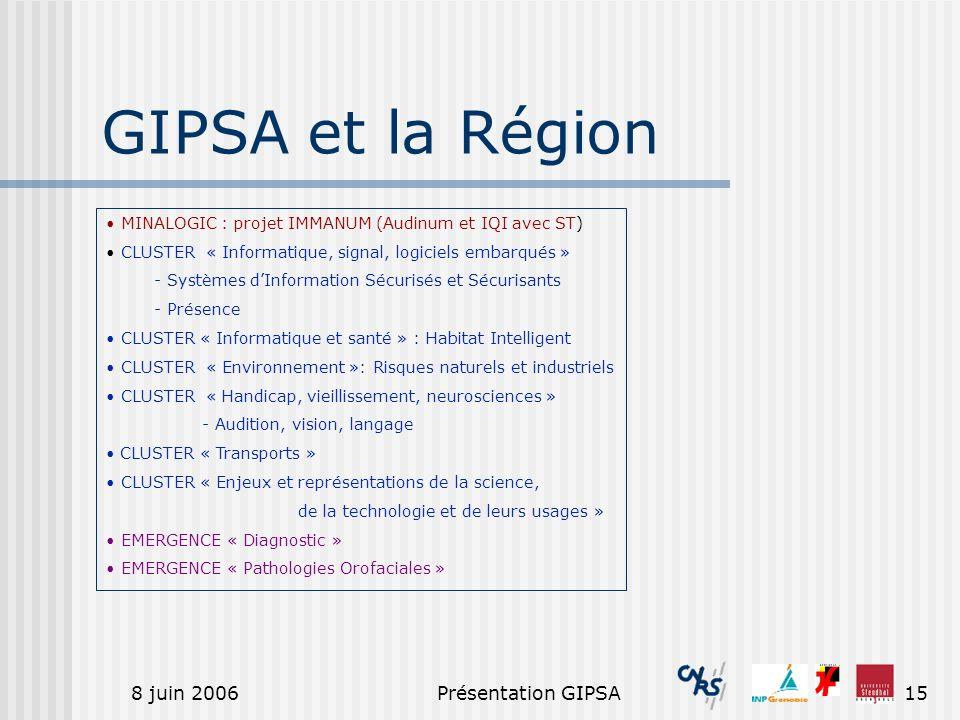 8 juin 2006Présentation GIPSA15 GIPSA et la Région MINALOGIC : projet IMMANUM (Audinum et IQI avec ST) CLUSTER « Informatique, signal, logiciels embar