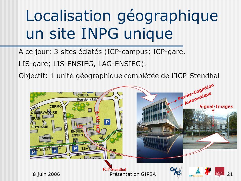 8 juin 2006Présentation GIPSA21 Localisation géographique un site INPG unique LAG ICP Automatique Parole-Cognition Signal-Images A ce jour: 3 sites éc