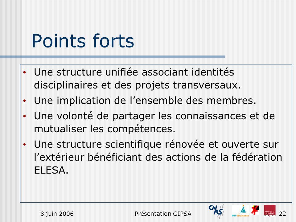 8 juin 2006Présentation GIPSA22 Points forts Une structure unifiée associant identités disciplinaires et des projets transversaux. Une implication de