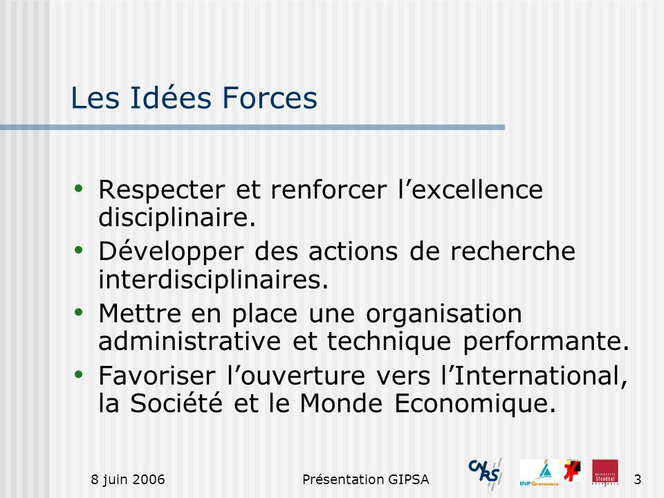 8 juin 2006Présentation GIPSA3 Les Idées Forces Respecter et renforcer lexcellence disciplinaire. Développer des actions de recherche interdisciplinai