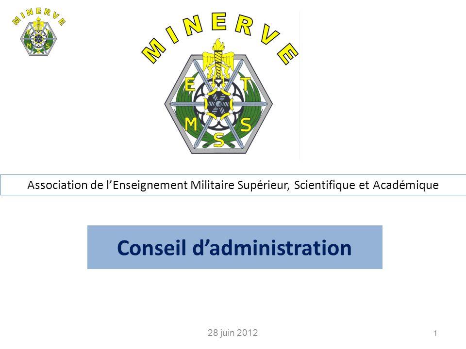 Conseil dadministration 28 juin 2012 1 Association de lEnseignement Militaire Supérieur, Scientifique et Académique