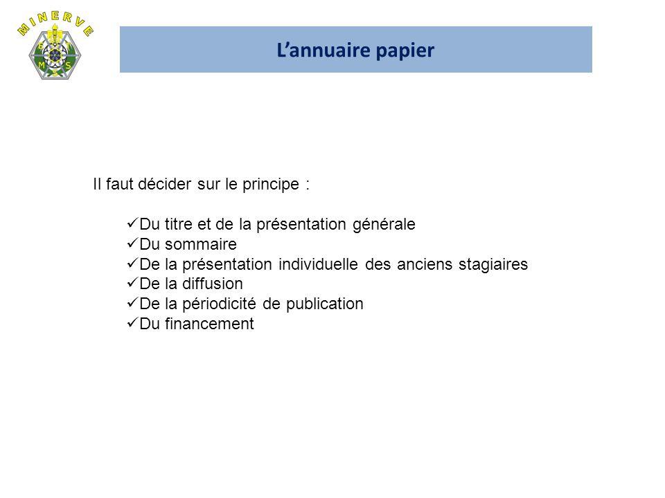 Lannuaire papier Il faut décider sur le principe : Du titre et de la présentation générale Du sommaire De la présentation individuelle des anciens sta