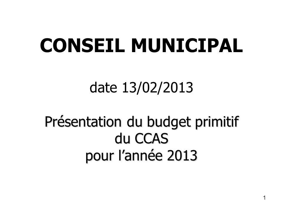 1 Présentation du budget primitif du CCAS pour lannée 2013 CONSEIL MUNICIPAL date 13/02/2013 Présentation du budget primitif du CCAS pour lannée 2013