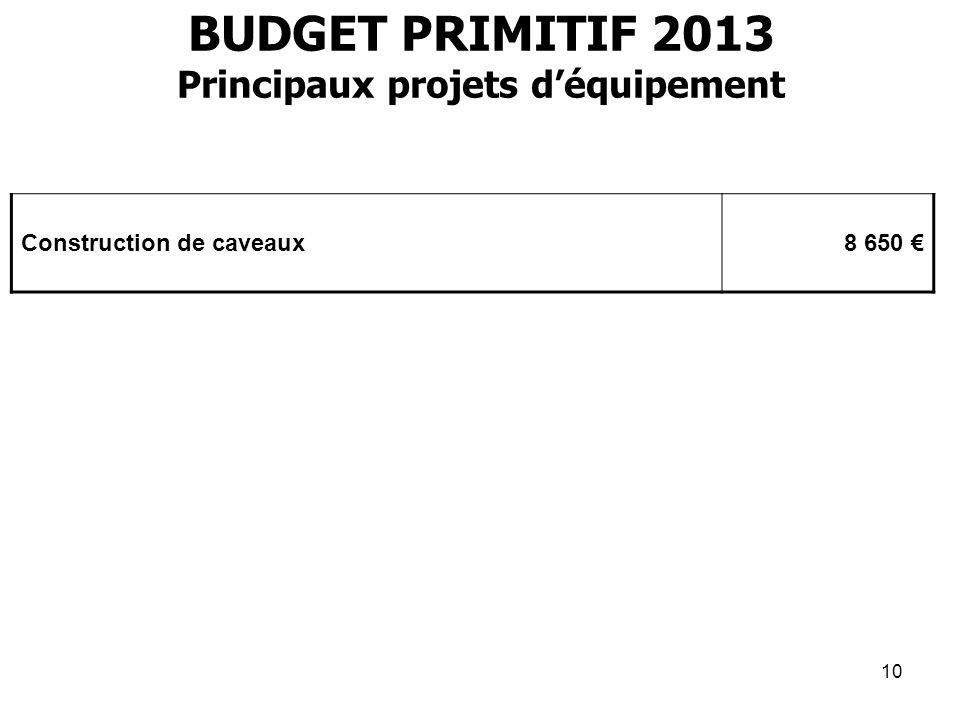 10 BUDGET PRIMITIF 2013 Principaux projets déquipement Construction de caveaux8 650